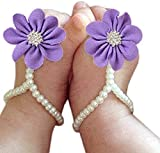 Catpapa Baby Girl Foot Flower Shoes Barefoot Sandals Pearl Chiffon (Purple)