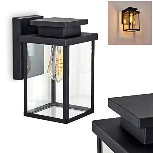 Außenwandleuchte Tieva, moderne Wandlampe aus Metall/Glas in Schwarz, 1-flammig, eckige Wandleuchte mit E27-Fassung max. 60 Watt, Außenleuchte abwärts mit Lichteffekt für den Eingangsbereich