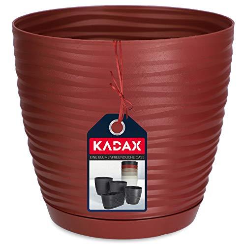 KADAX - Vaso da fiori con sottovaso, per interni, in plastica, leggero, per fiori, piante, casa, camera, vaso (13 cm, rosso scuro)