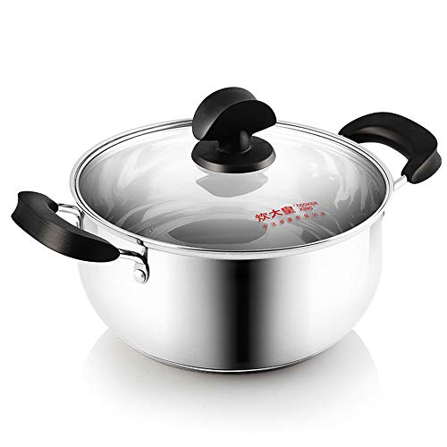 DDSPAL Soup Pot 304 Stainless Steel Thick 22cm Uncoated Stew Pot Heating Fast Pasta Pot Easy to Clean Cooker Induction Cooker Universal (Size : 20cm)