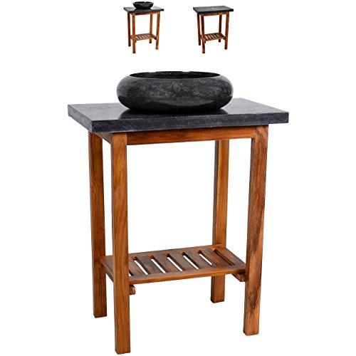 Divero Waschtisch Teak Holz mit Waschbecken und Platte aus schwarzem Marmor Badmöbel Unikat poliert