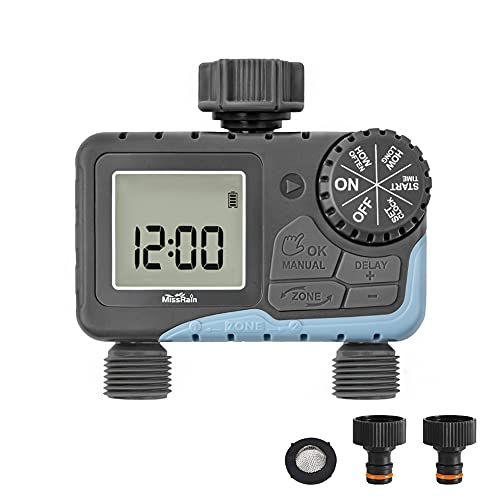 Intelligent Garden Water Timer Automatic Digital Dual Outlets Sprinkler Timer Outdoor Lawn Hose Faucet Programmable Irrigation System, Rain Delay Controller, 2 Outlets