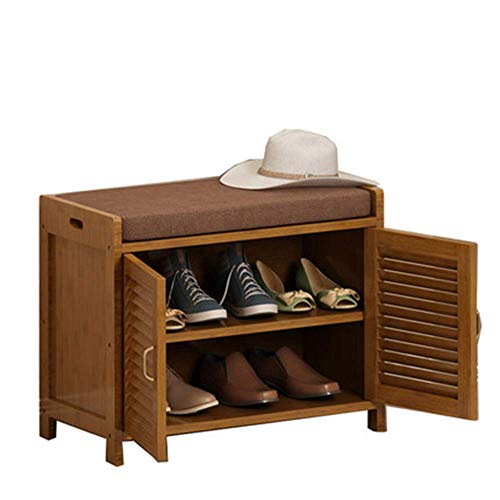 WY-YAN Bamboo Shoes Rack Seat Cushion, Storage, Seat Change Shoes Bench