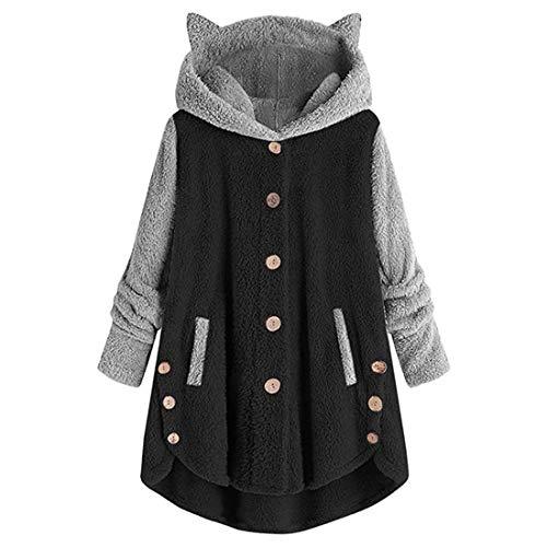 Jackets Women Long Sleeve Hoodies Fleece Button Patchwork Irregular Hem Cardigans Loose Soft Comfortable Warm Sweatshirt Jogging Fitness Hiking Tops Autumn Winter New Sweaters Top XXL