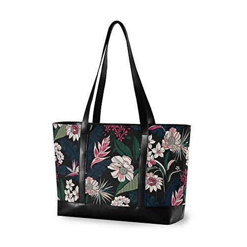 VALLER Women's Canvas Bag Laptop Shoulder Bag Black Chrysanthemum Flower New Printed Design Laptop Bag Multicolor 14.65.111.8in