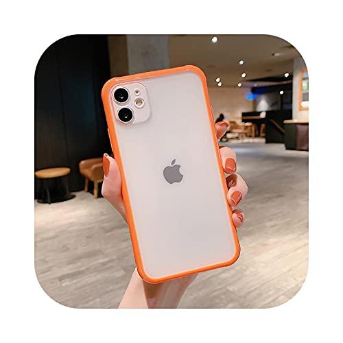 Funda transparente mate simple para iPhone 11 Pro Max XS X XR 7 8 Plus 6 6S SE a prueba de golpes Carcasas cubierta-naranja-para iPhone 6plus