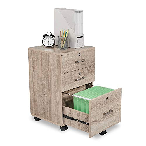 Bonnlo Upgraded 3-Drawer Rolling Wood File Cabinet with Lock, Assembly Required, Oak