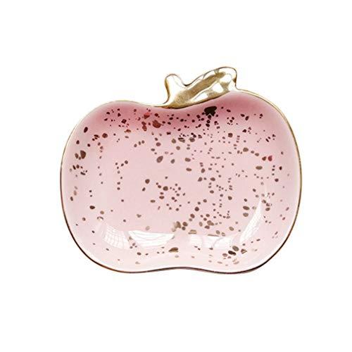 DOITOOOL, vassoio in ceramica dorato, a forma di mela per snack, dolciumi, anelli, collane, gioielli, bigiotteria, ornamento per orecchini, bracciali, cosmetici