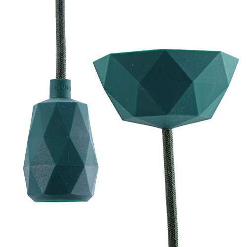 DESIGN DELIGHTS SUSPENSION TOUCH EN KIT minimaliste |3 m câble en Tissu,Vert | lampe tactile en kit, éclairage pour Le Salon