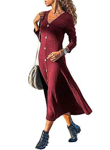 Minetom Vestidos de Suéter para Mujer Moda Cuello V Manga Larga Tejido de Punto Botones Midi Vestido de Cóctel Noche Fiesta Rojo ES 40