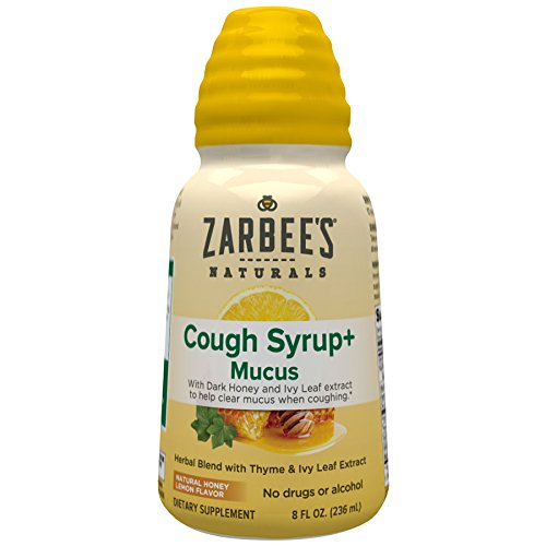 Zarbee's Naturals Cough Syrup + Mucus with Dark Honey- Herbal Blend with Thyme & Ivy Leaf Extract, Natural Honey Lemon Flavor, 8 Ounce Bottle