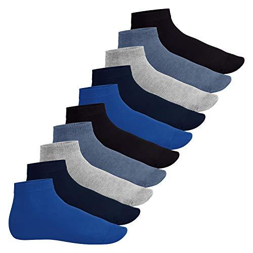 Footstar Herren und Damen Kurzschaft Socken (10 Paar) - Sneak it! - Jeanstöne 47-50
