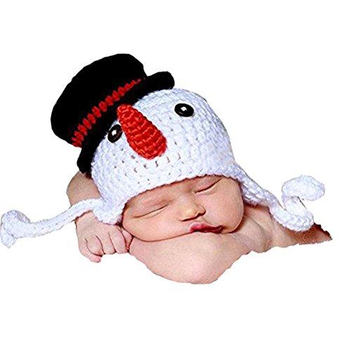 OULII Recién nacido fotografía foto Prop Crochet tejido Crochet disfraz muñeco de nieve sombrero Caps de decoración de la Navidad de Xselector