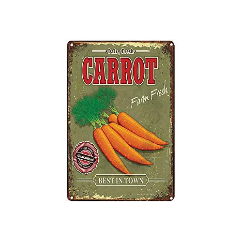 Vintage Metal Tin Sign 8'' X 12'' Carrot Best in Town for Bar Club Cafe Farm Home Decor Art Poster