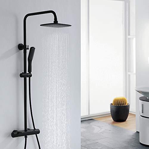 Aihom Columna de Ducha Termostática 38℃ Conjunto de ducha Negro Set de Ducha Cuadrada Sistema de ducha con estante Ducha de Lluvia 3 Tipos Con Volante Antideslizante para Baño