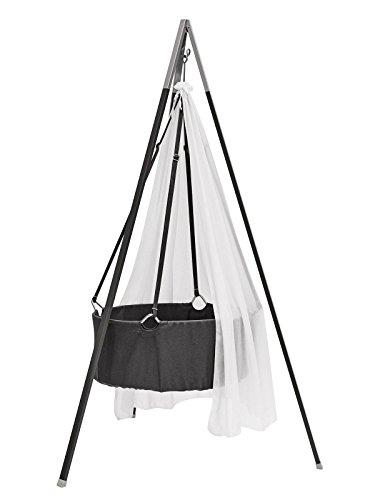Leander Culla–Baby culla Grigio con materasso e gancio da soffitto–con cielo (velo) Bianco + treppiede grigio