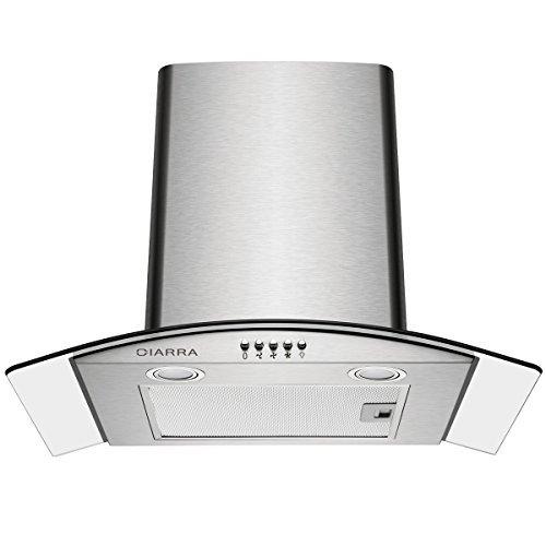 CIARRA CBCS6506B Cappa Aspirante 60 cm in Vetro e Acciaio Inox, Cappa Cucina per 650 m³ h, 3 gradini, Vetro LED, Scarico Aria Ricircolata (Argento)