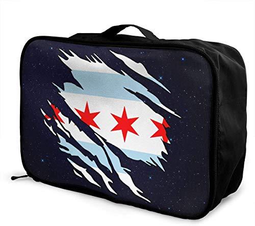 Bolsa de Viaje Grande con diseño de Bandera de Chicago