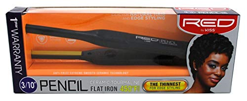 Kiss Products Red Ceramic Tourmaline 3/10 Inch Pencil Flat Iron, 1.01 Pound