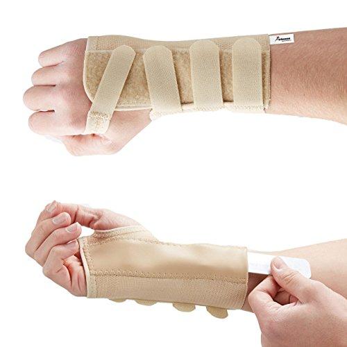 Actesso Elastische Handgelenkschiene Karpaltunnel Schiene - Ideal Karpaltunnelsyndrom Nachtschiene oder Verstauchungen (M, Rechts)