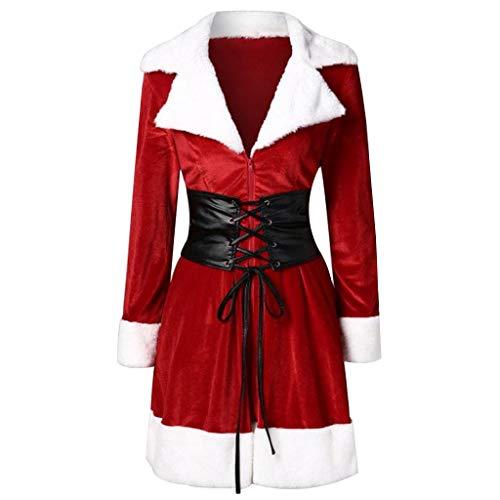 JSPOYOU Christmas Women Jacket Coat Women Santa Coat Christmas Faux Fur Jacket Velvet Coat with Belt Red