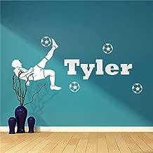 Modeganqingg Nombre Personalizado para la habitación de los niños, fútbol y fútbol Vinilo Pared Arte Pegatina decoración niño Dormitorio Apliques 26cmX58cm