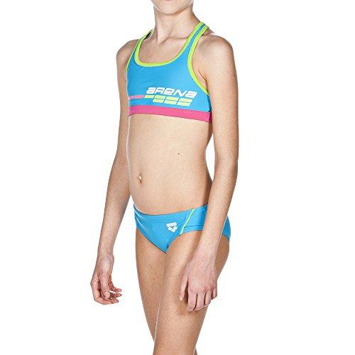 ARENA Mädchen Sport Bikini Suomi, Turquoise/Leaf, 128