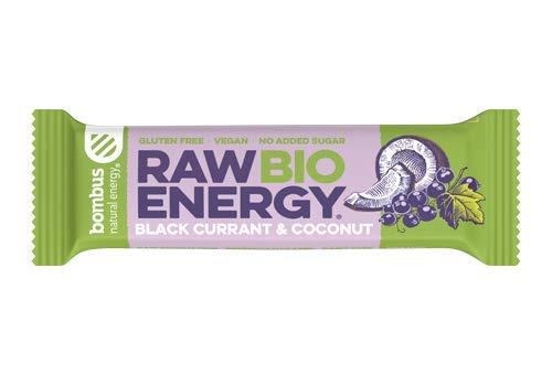 Raw Bio Energy Blackcurrant & Coconut [20 x 50g Bars]- Quality Organic Fruit Ingredients, Energy bar- Vegan with no Added Sugar- No Gluten or Dairy