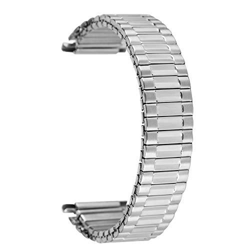 Correa de reloj de acero inoxidable plateada de 22 mm, resistente al agua, correa de repuesto práctica, longitud elástica, sin hebilla, correa de reloj de pulsera