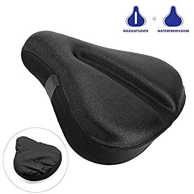 Large Soft bike Seat Cushion, Wide Gel Soft Pad Exercise Bike Seat Cover, Wide Foam bicycle Seat Cushion, Fits Cruiser, Stationary Bikes, Outdoor Indoor Cycling (With Waterproof Bike Saddle Cover)