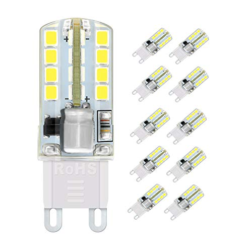 G9 LED Lampen, WXY 5W 32 x 2835 SMD LED Lampen, entspricht 40W Halogenlampen, kaltweiß 6000K, 400LM, AC220-240V, 360 ° Abstrahlwinkel, kein Flimmern und nicht dimmbar 10er-Pack
