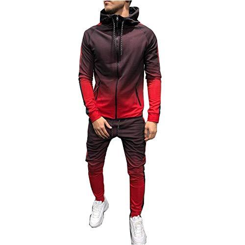 Morbuy Chándal de Otoño Hombres Traje de Deportiva Hombres Sudadera + Pantalones Conjuntos, Costura Hip Hop Deportivos Manga Larga Chandal Entrenamiento Gimnasio (M, Rojo)