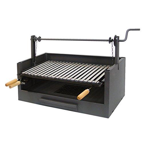 IMEX EL ZORRO 71509 71509 - Cassetto Barbecue Sollevatore, Griglia Inox, 63 x 75 x 42 cm, Nero, 63 x 75 x 42 cm