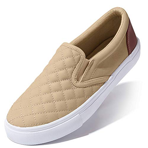 DailyShoes Quilted Casual Slip-on Sneakers Ankle Fashion Round Toe Sole Lined Solid Flat Warm Party Dress Shoes Ballet Flats Skate Walking Taupe,pu,11