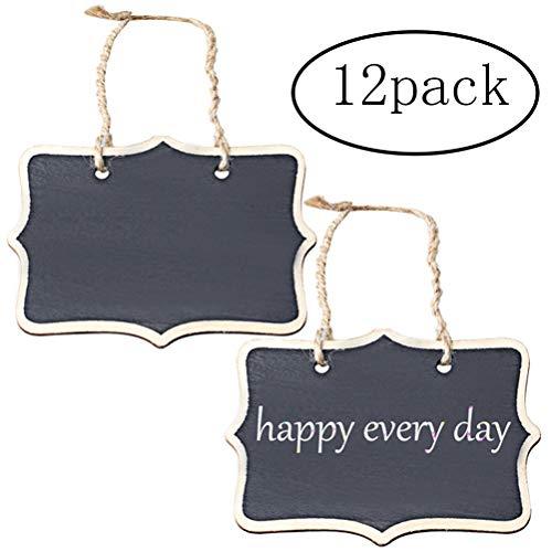 Ofoen Lot de 12 mini ardoises de cuisine rectangulaires et décoratives double face pour afficher des messages