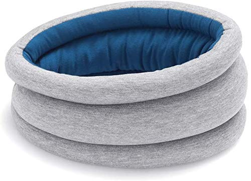 Ostrichpillow Light Travel Pillow for Airplane Neck Support - Travel Accessories for Head Rest, Power Nap on Flight - Sleepy Blue