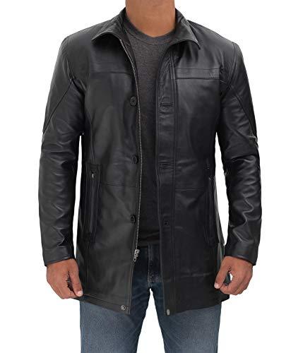 BlingSoul Black Leather Car Coat For Men | [1500147] Bristol Black, 3XL