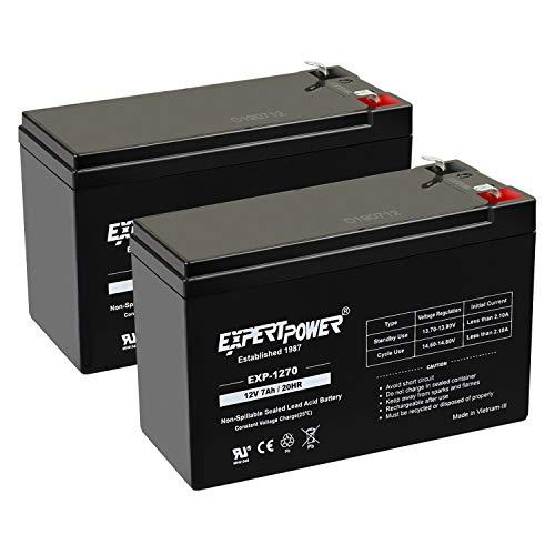 ExpertPower Standard 12V 7AH Rechargeable SLA Battery, (EXP1270-2) - 2 Pack