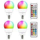 Bombilla LED E14 5W (equivalente a 40W) Colores RGBW Cambio de Color RGB 5700K Blanco frio Regulable casquillo fino mando Incluido (4 unidades)