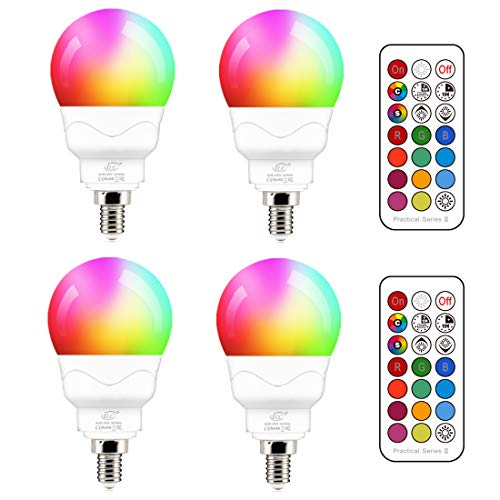 E14 Led Lampe 5W (ersetzt 40W) RGBW mit Fernbedienung kaltweiße 5700K Ambiente RGB Farbwechsel Farbige Birne Leuchtmittel Dimmbare (4er-Pack)