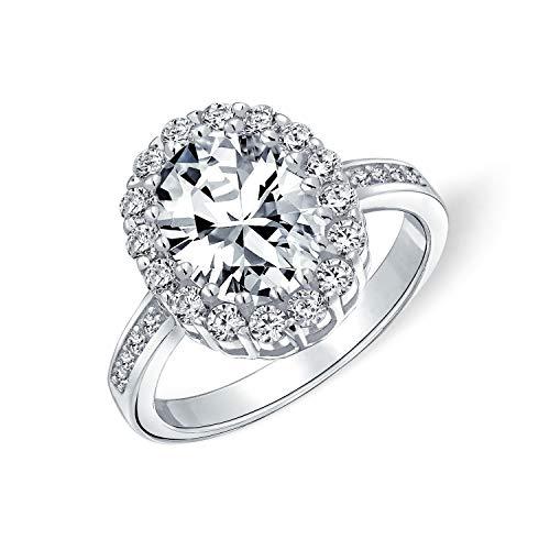 Vintage-Stil 4CT Oval Pave Halo Zirkonia CZ Versprechen Verlobungsring für Frauen 925 Sterling Silber