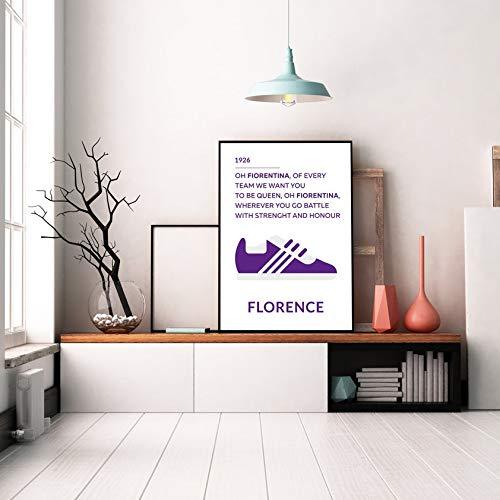 Erti567an Fiorentina FC Florence City Poster Stampabile Stampa Stampa Stampa Stampa Poster Minimalista Poster Calcio Incorniciato Decorazione da Parete