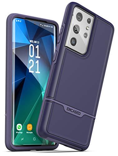Encased Rebel Series Designed for Samsung Galaxy S21 Ultra Case Purple, Protective Heavy Duty Phone Case (Purple)
