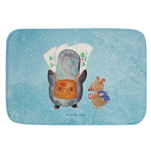 Mr. & Mrs. Panda Alfombra de baño, Alfombra de baño, Alfombra de baño, Alfombra de ducha, antideslizante, Alfombra de baño, Alfombras de baño Excursionista de pingüinos y ratones Ohne Text Din Quer -