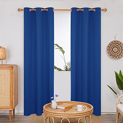 Deconovo Thermal Insulated Royal Blue Panels, Room Darkening Heat/Cold/Noise Reducing Blackout Curtains for Kids/Adults/Master Bedroom, 2 Panels, 42x84 in