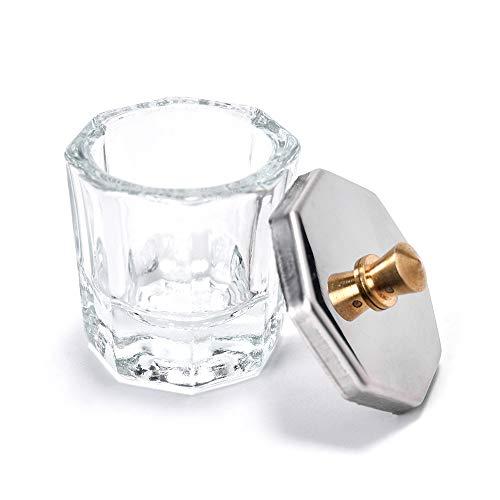 Alexnailart Dappen Plat en verre avec couvercle en métal pour nail art, poudre acrylique (1 #)