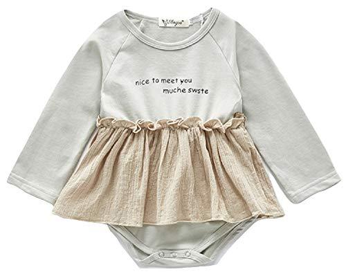 F's MAUMU かわいい ベビー 女の子 長袖Tシャツ スカート ベビー服 赤ちゃん 服 ロンパース ワンピース 韓国風 (グレー, 90)