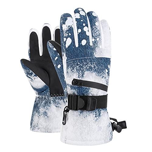 UKKO Guantes De Esquí Profesional Pantalla Táctil Fleece Winter Warm Snowboard Guantes Ultraligero Guantes De Nieve Térmica De Motocicleta Impermeable-Denim Blue,S