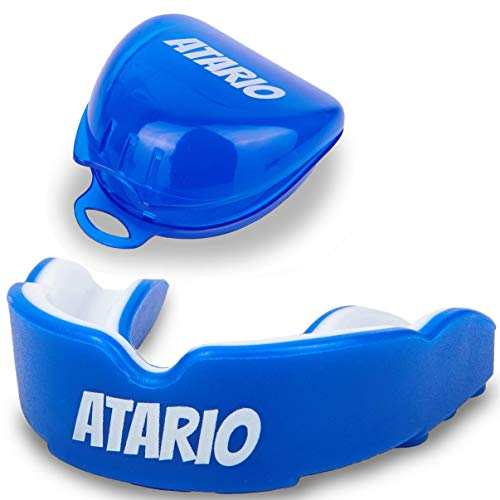 ATARIO® Mundschutz mit perfektem Halt [inkl. Transportbox]– Zahnschutz Kampfsport [BPA-frei] für maximale Leistung beim Sport – Mundschutz Boxen, MMA & Football für Erwachsene und Kinder (Blau)