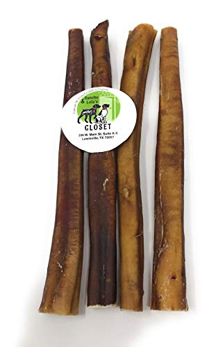 Sancho & Lola's Bully Sticks for Dogs - 12-Inch Jumbo (4 Count) All Natural, Grain-Free, High-Protein Beef Pizzle Dog Chews